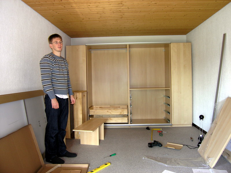 October 4th 2008: Assembling the IKEA PAX wardrobe